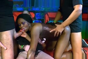 Black Mimi Gets Pummeling With Spunks..