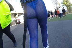 Large ebony bum in semi-transparent..