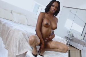 Dark-hued Ladyboy Brooke Morgan Enjoys..