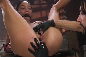 Dark-hued victim gets fisted and pounded